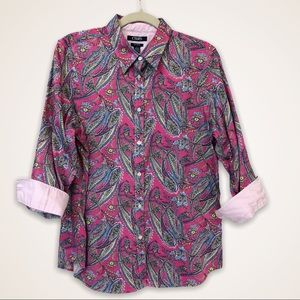 Chaps 3/4 Sleeves Paisley Blouse Size Large